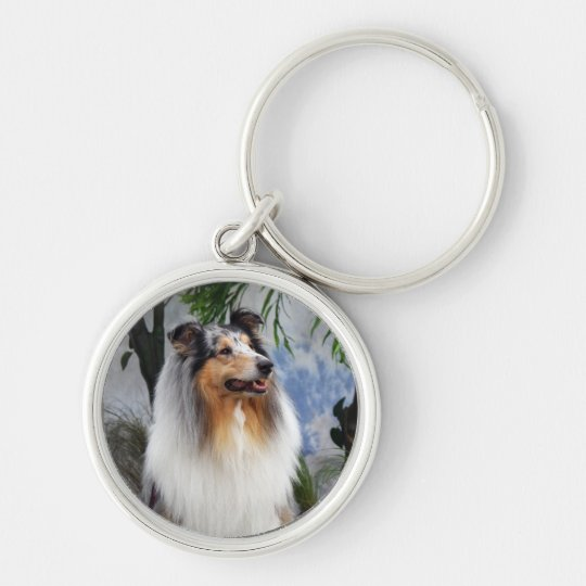 Collie dog blue merle keychain, gift idea keychain