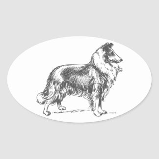Collie Dog Oval Sticker