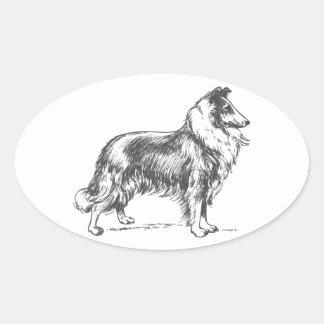 Collie Dog Oval Sticker