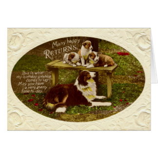 Collie Dog & Pups  Happy Birthday vintage 1910 Greeting Card