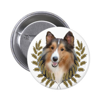 Collie Framed in Wheat Pinback Button