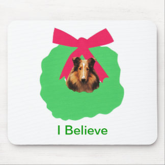 Collie Holiday Christmas Wreath Mouse Pad