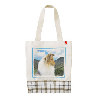 Collie in Mountains (Rough) Painting - Dog Art Zazzle HEART Tote Bag