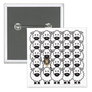 Collie in the Sheep 2 Inch Square Button