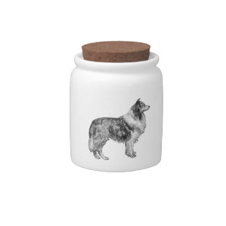 Collie Line Drawing Candy Jar