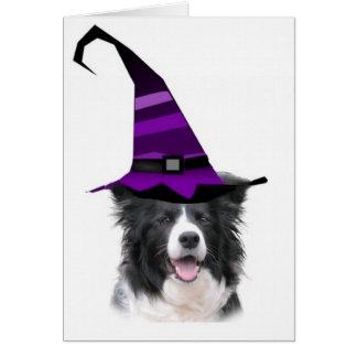 Collie mareado Card~Halloween~Witch de Dogz~Border Tarjeta De Felicitación