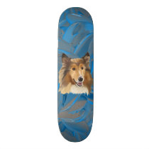 Collie on Blue Abstract Skateboard