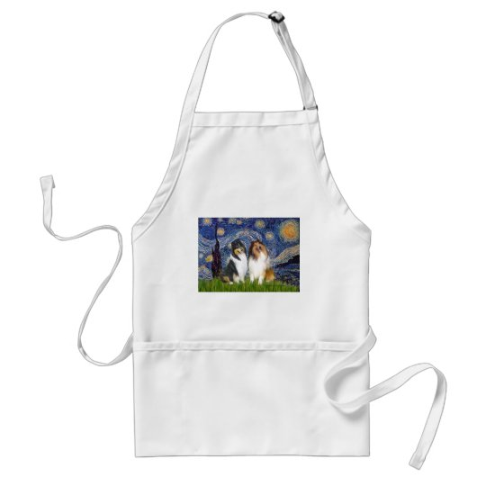 Collie Pair 1 - Starry Night Adult Apron