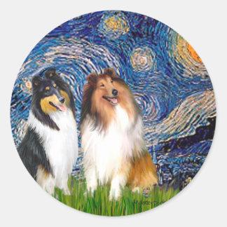 Collie Pair 1 - Starry Night Classic Round Sticker