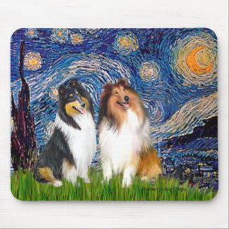 Collie Pair 1 - Starry Night Mouse Mats
