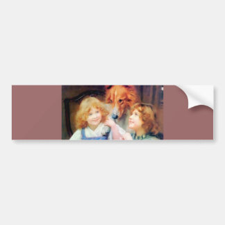 Collie Pet Dog and two girls. Car Bumper Sticker