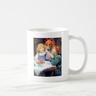 Collie Pet Dog and two girls. Coffee Mug