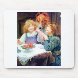Collie Pet Dog and two girls. Mouse Pad