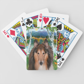 "Collie Portrait - ""In the Birches"" Bicycle Playing Cards"