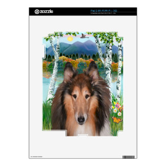 "Collie Portrait - ""In the Birches"" iPad 2 Skin"