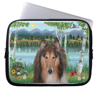 "Collie Portrait - ""In the Birches"" Laptop Sleeve"