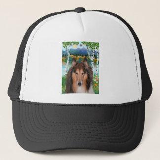 """Collie Portrait - """"In the Birches"""" Trucker Hat"""