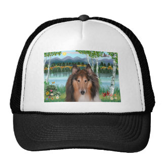 "Collie Portrait - ""In the Birches"" Trucker Hat"