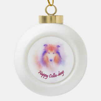 Collie Pun Ceramic Ball Christmas Ornament