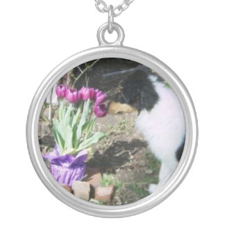 Collie Puppy and Easter Tulips Round Pendant Necklace