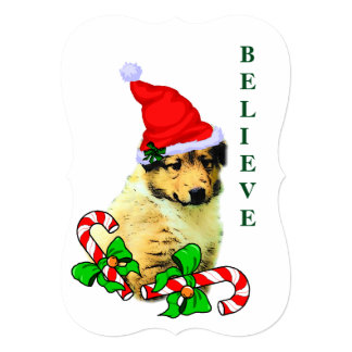 Collie Puppy Christmas Card