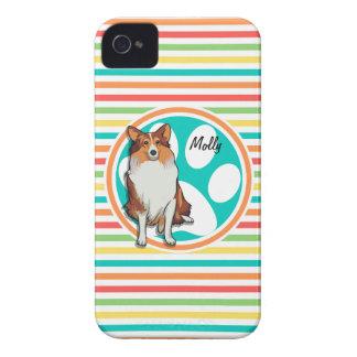Collie;  Rainbow Stripes iPhone 4 Case
