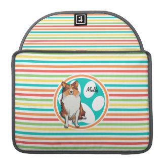 Collie;  Rainbow Stripes Sleeves For MacBooks