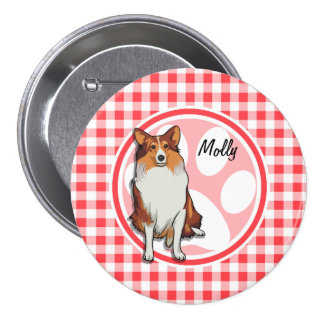 Collie; Red and White Gingham Pins