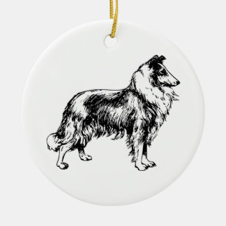 Collie rough dog beautiful illustration ornament