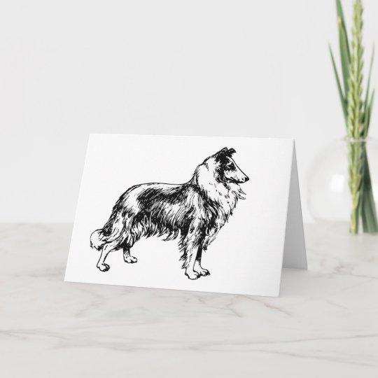 Collie Rough Dog Illustration Blank Birthday Card Zazzle