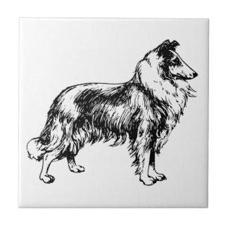 Collie rough dog illustration tile or trivet, gift