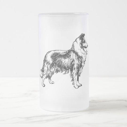 collie rough dog line art glass mug, gift frosted glass beer mug