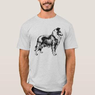 Collie rough dog line art mens ash t-shirt, gift T-Shirt