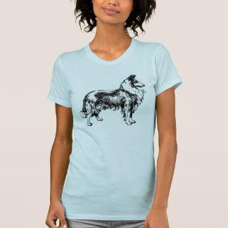 Collie rough dog line art womens blue t-shirt