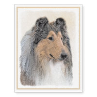 Collie (Rough) Painting - Cute Original Dog Art Temporary Tattoos