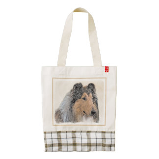 Collie (Rough) Painting - Cute Original Dog Art Zazzle HEART Tote Bag
