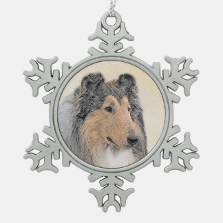 Collie (Rough) Snowflake Pewter Christmas Ornament