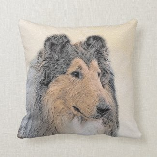 Collie (Rough) Throw Pillow