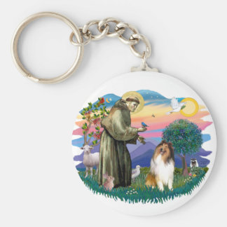 Collie (sable and white) keychain