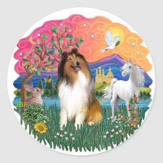 Collie (Sable and white) Classic Round Sticker