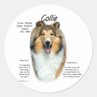Collie (sable rough) History Design Classic Round Sticker