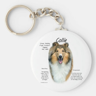 Collie (sable rough) History Design Keychains