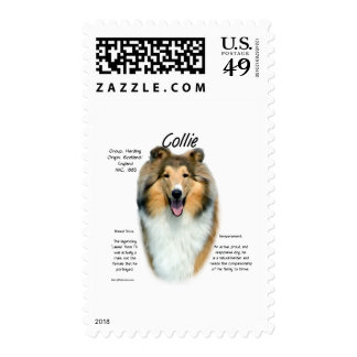 Collie (sable rough) History Design Postage