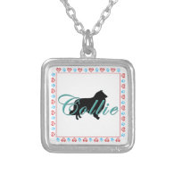 Collie Silhouette & Text Custom Necklace