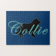 Collie Silhouette & Text Jigsaw Puzzle