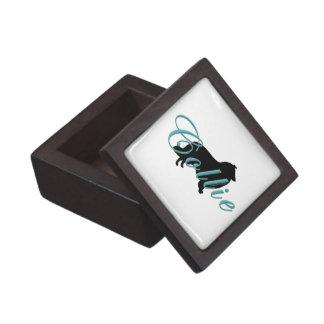 Collie Silhouette & Text Premium Trinket Box