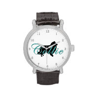 Collie Silhouette & Text Wristwatch