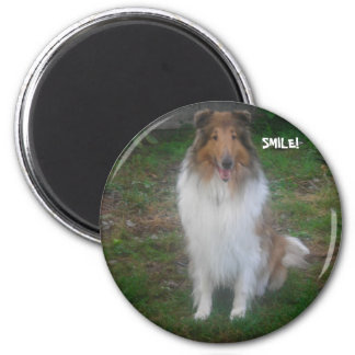 COLLIE SMILE! 2 INCH ROUND MAGNET