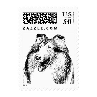 collie stamp, rough collie, collie rescue logo postage