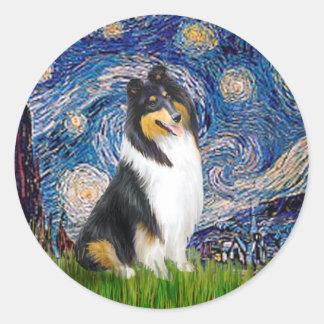 Collie (Tri3) - Starry Night Classic Round Sticker